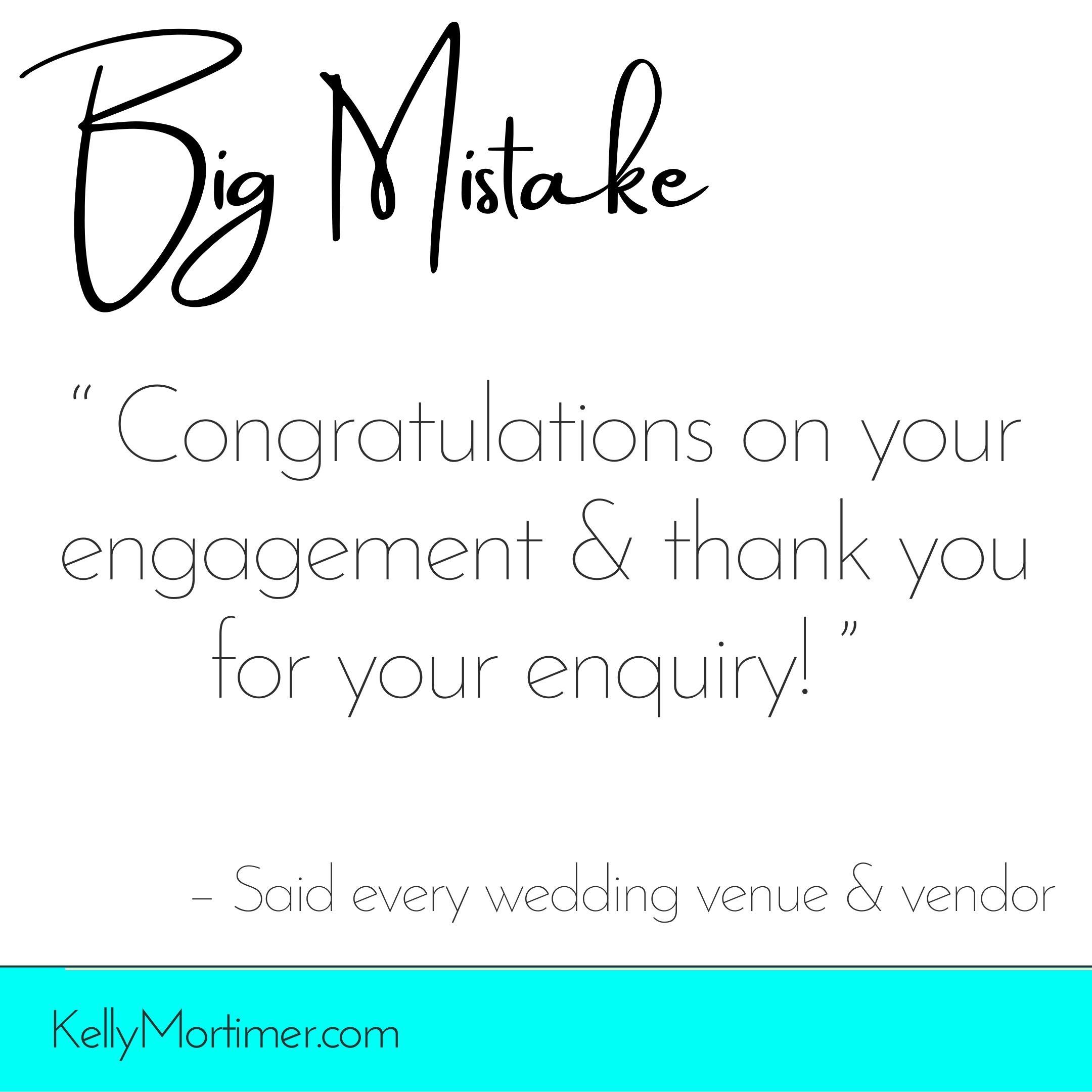 Wedding industry mistake