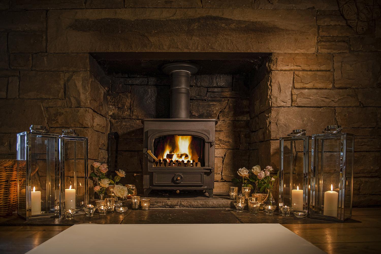 Christmas fire decor